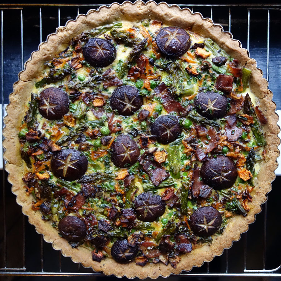 Roasted Asparagus, Mushroom, Bacon & Cheese Tart