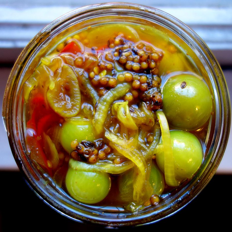 Bread & Butter Green Cherry Tomato Pickles