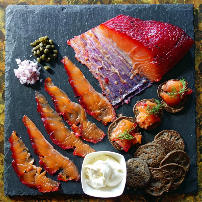 Beet Cured Salmon Gravlax