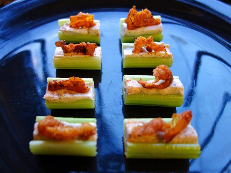 Buffalo Chicken Crackling Celery Sticks