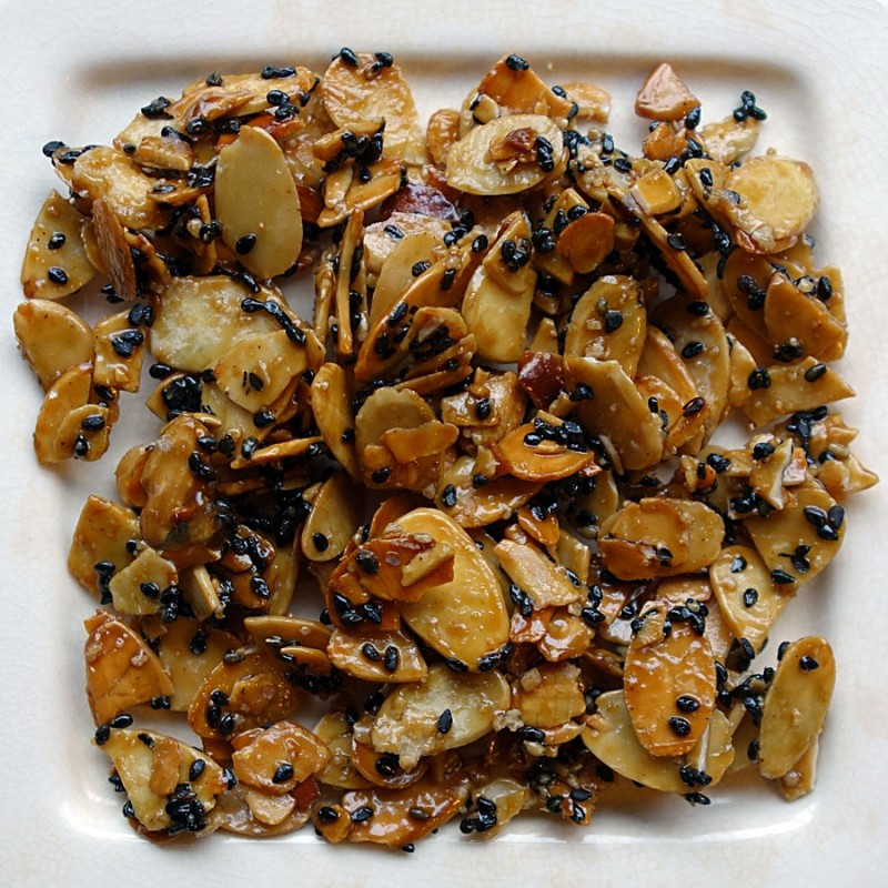 Caramelized Black Sesame Seed Almonds