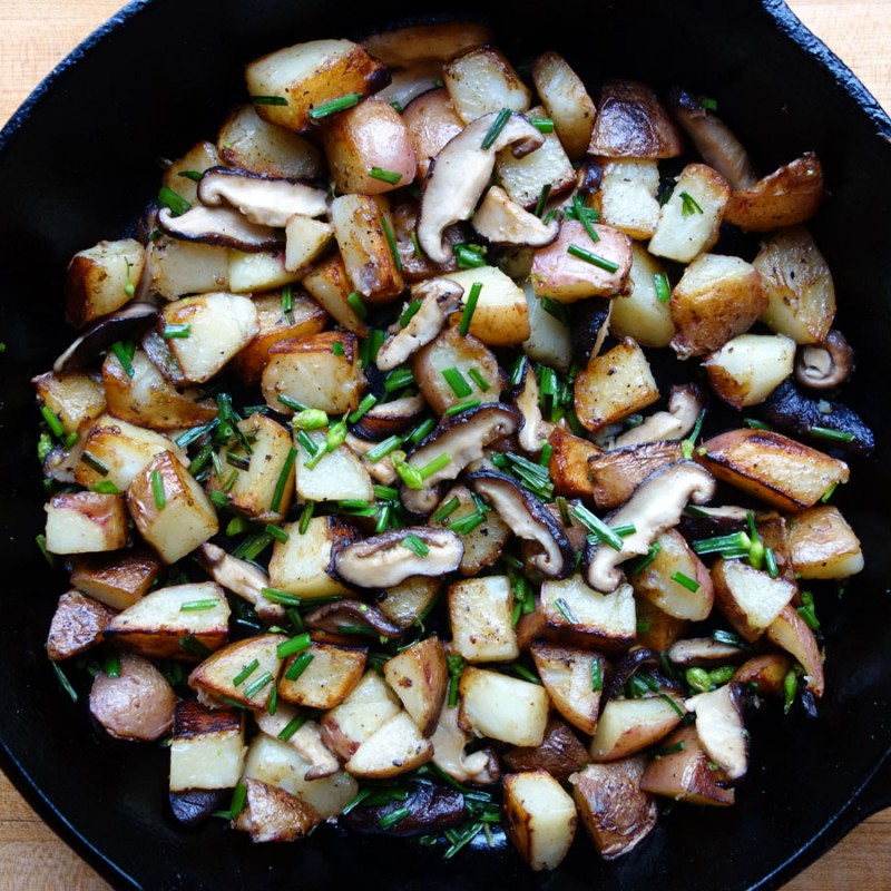 Garlic Chive & Chinese Mushroom Potatoes