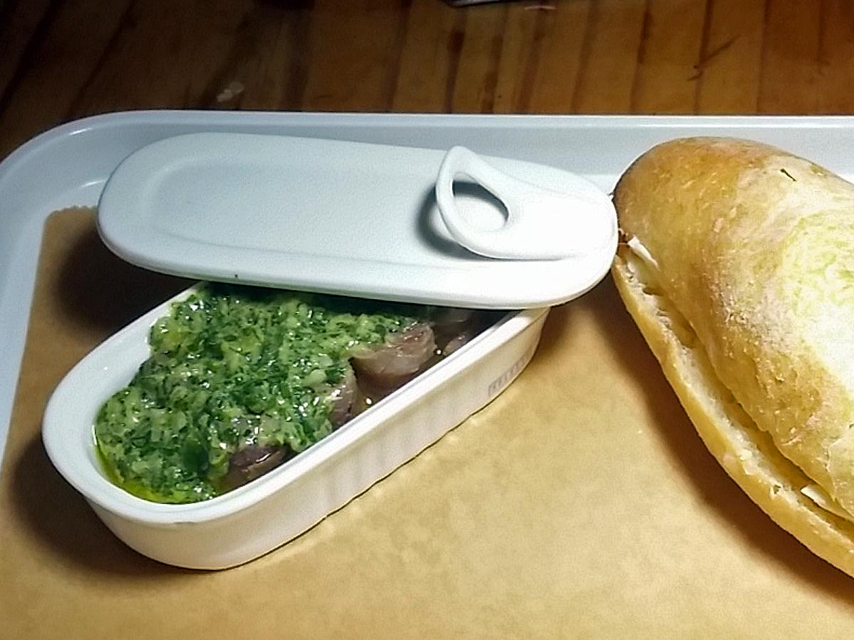 Take A Bow!: Anchovies with salsa verde, bread and butter