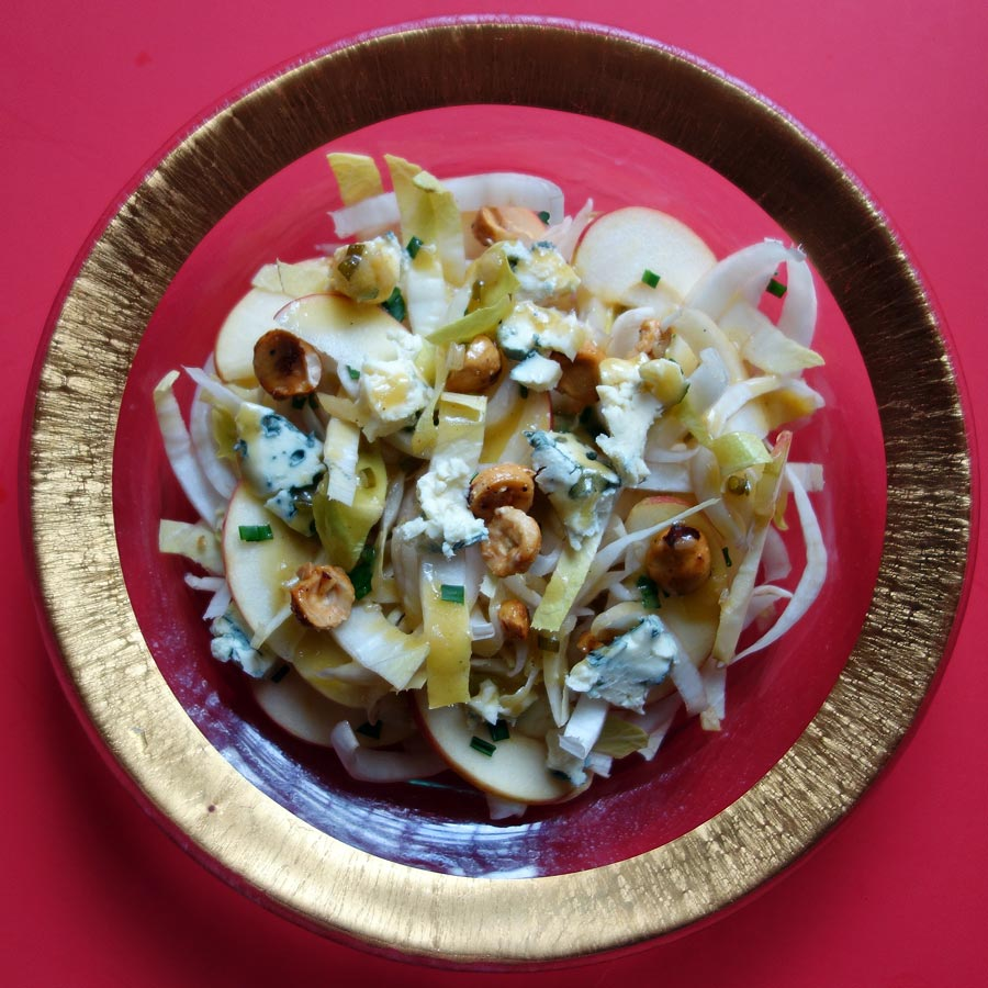 Endive Salad with Apples, Blue Cheese and Candied Hazelnuts