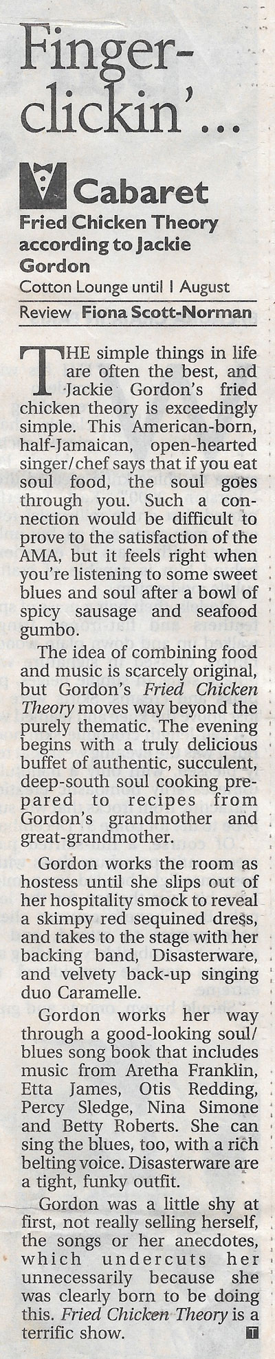 The Fried Chicken Theory According review 1999 The Age
