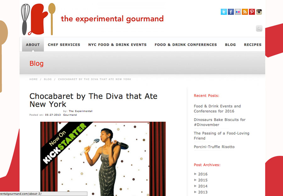 Jackie Gordon Singing Chef - Press: Chocabaret The Experimental Gourmand