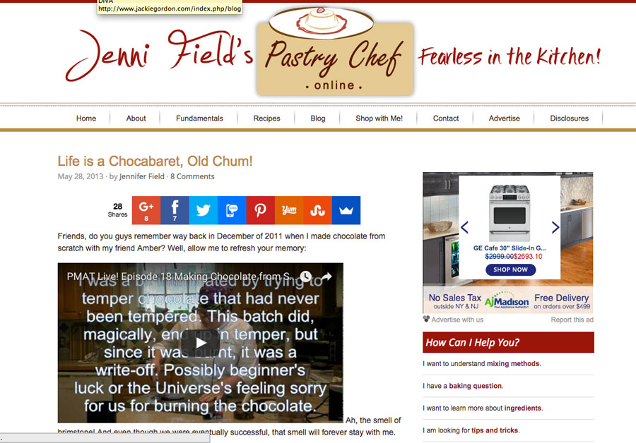 Jackie Gordon Singing Chef - Press: Chocabaret Pastry Chef Online