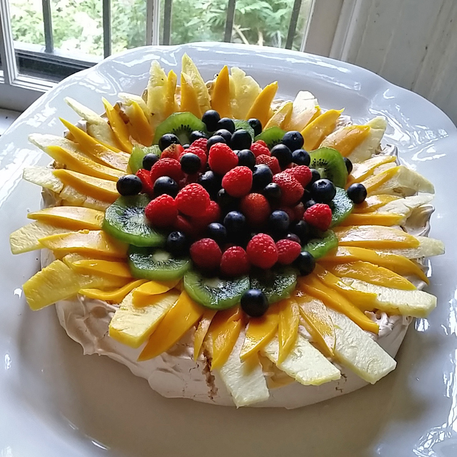 Vanilla Bean Pavlova with fresh fruit