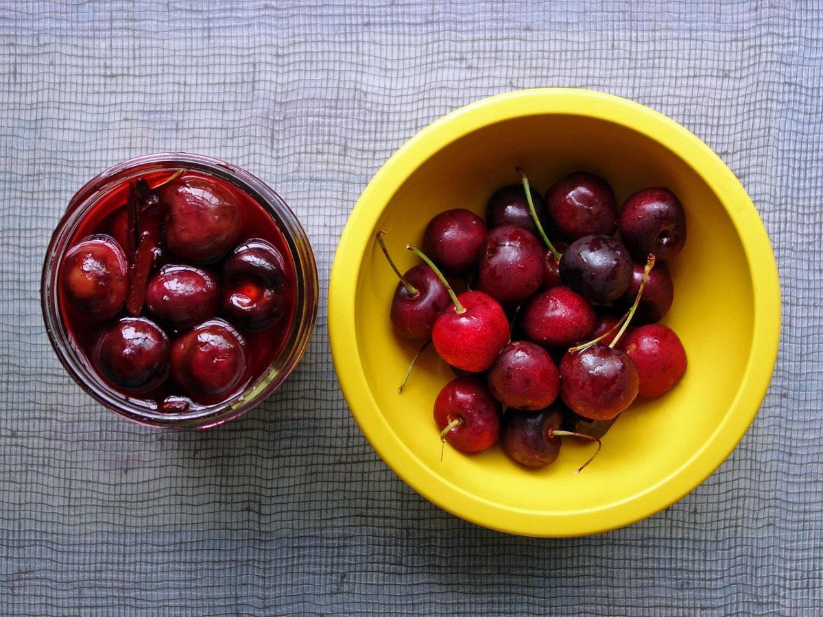 Sweet Spiced Pickled Cherries