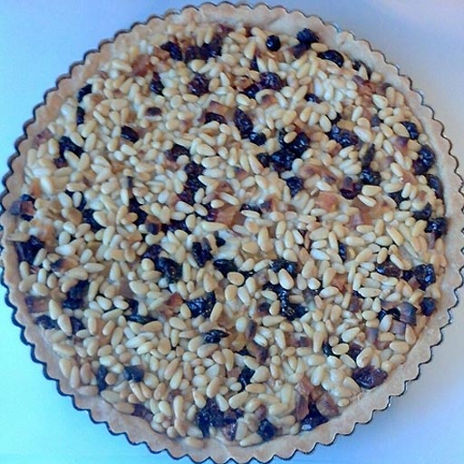 Pine nut, cherry, apricot, browned-butter frangipane tart