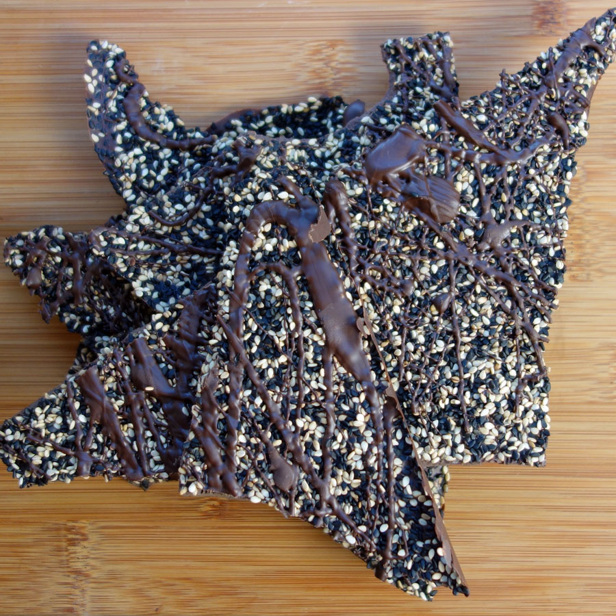 Salted & Toasted Black and White Sesame Chocolate Bark