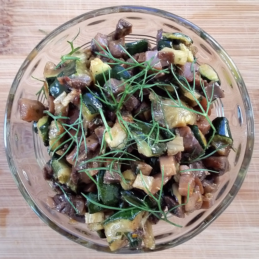 Mushroom, Zucchini and Fennel Salsa or Bruschetta